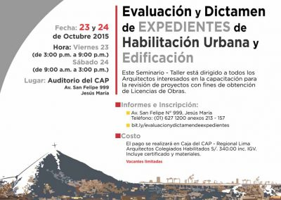 Evaluacion y dictamen de expedientes de habilitacion urbana y edificacion