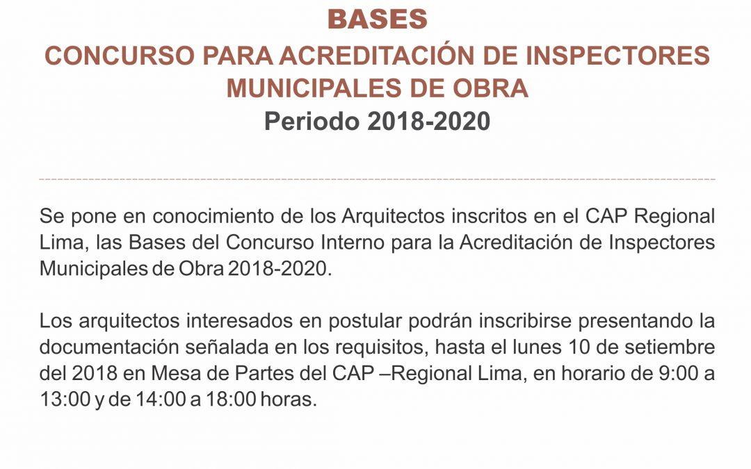 BASES DEL CONCURSO PARA ACREDITACIÓN DE INSPECTORES MUNICIPALES DE OBRA |  Periodo 2018-2020
