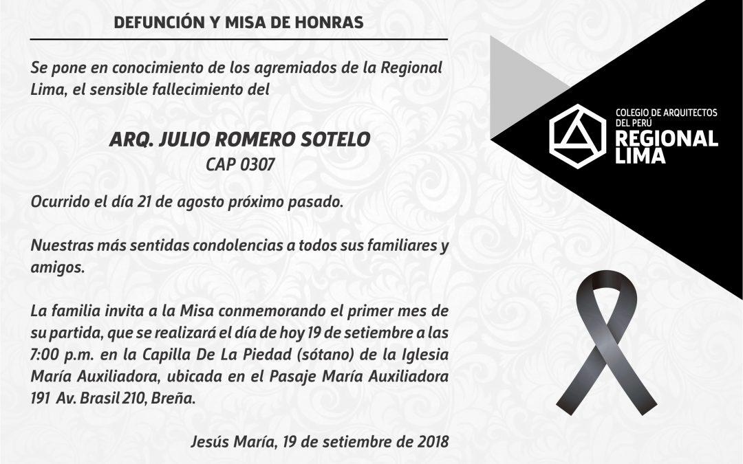 DEFUNCIÓN Y MISA DE HONRAS – ARQ. JULIO ROMERO SOTELO