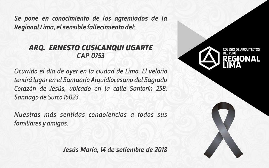 DEFUNCIÓN – ARQ.  ERNESTO CUSICANQUI UGARTE