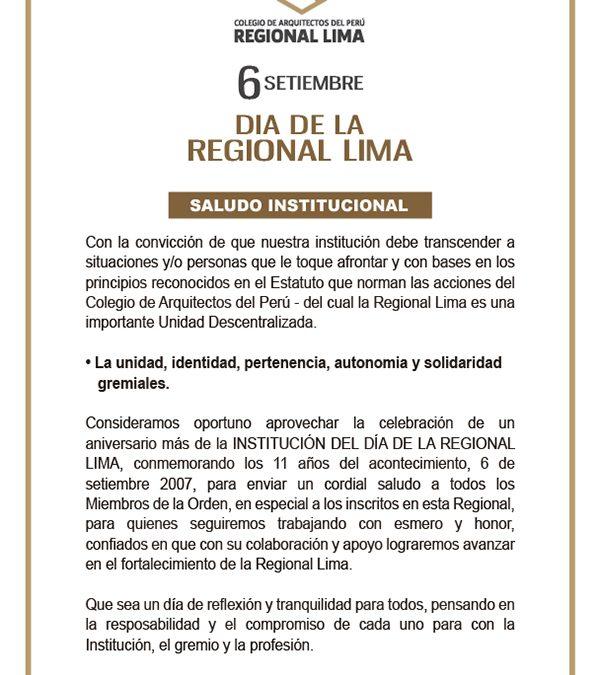 DÍA DE LA REGIONAL LIMA DEL COLEGIO DE ARQUITECTOS DEL PERÙ