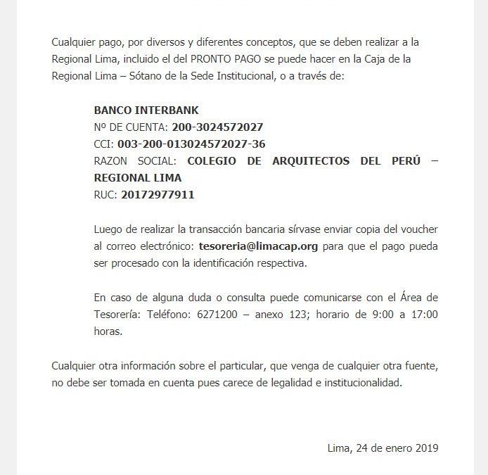FE DE ERRATAS SOBRE CUOTAS INSTITUCIONALES Y PRONTO PAGO | NotiCAPLima 008 2019
