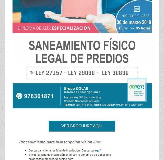COLAE Corporación Latinoamericana de Entrenamiento – Saneamiento Físico Legal de Predios NotiCAPLima 035-2019