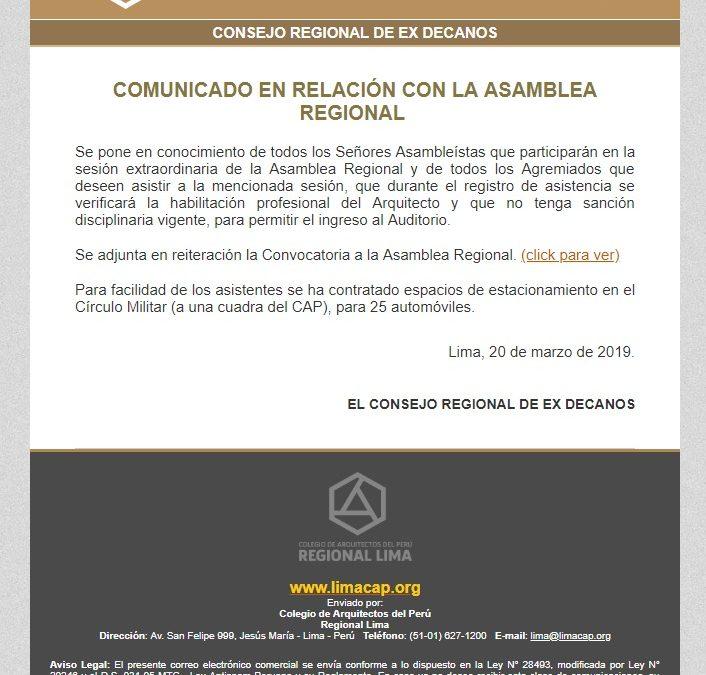 COMUNICADO EN RELACIÓN CON LA ASAMBLEA REGIONAL | NotiCAPLima 037-2019