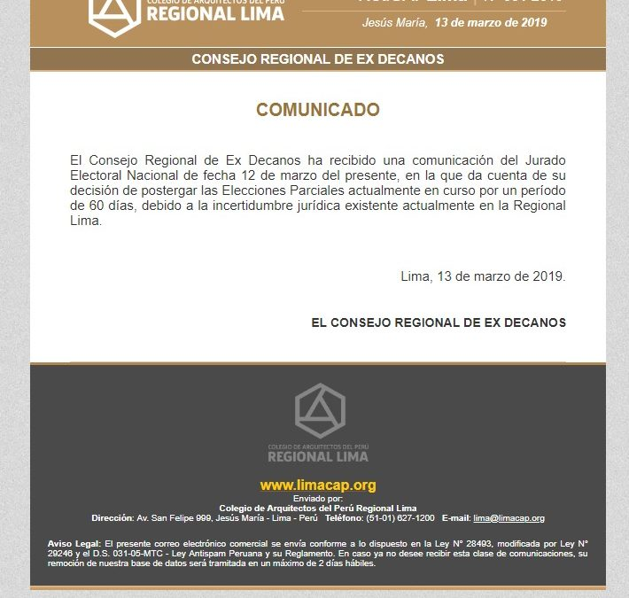 COMUNICADO – NotiCAPLima 031-2019