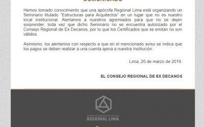 COMUNICADO | NotiCAPLima 036-2019