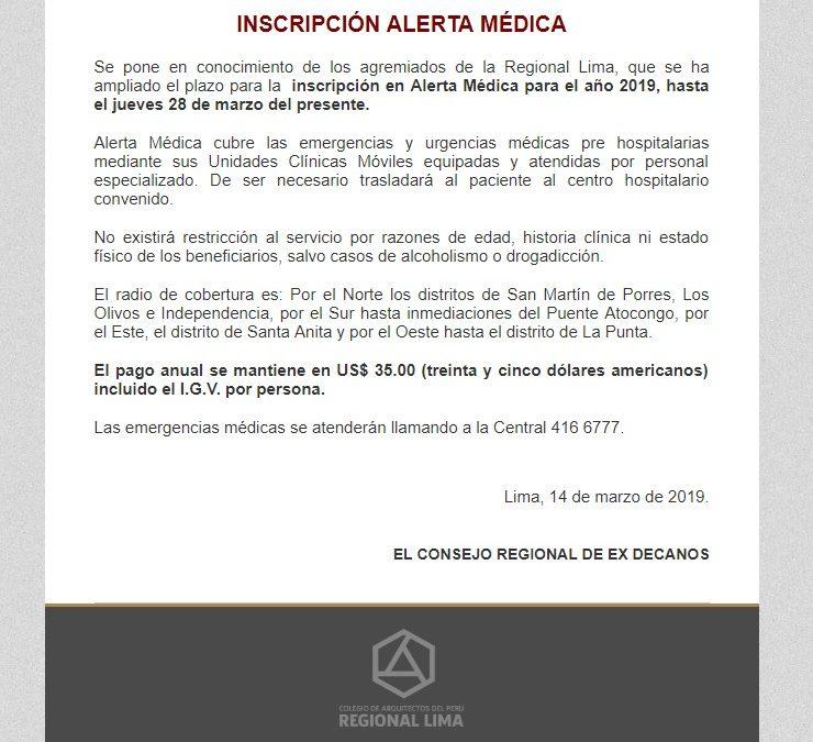 INSCRIPCIÓN ALERTA MÉDICA  NotiCAPLima 033-2019