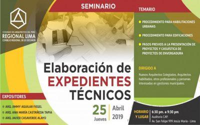 SEMINARIO ELABORACIÓN DE EXPEDIENTES TÉCNICOS |  25 ABRIL 2019