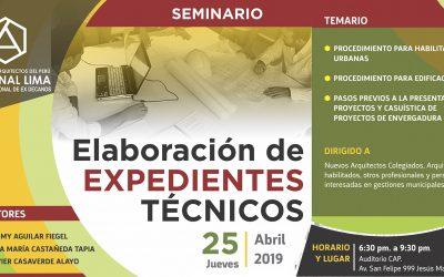 SEMINARIO ELABORACIÓN DE EXPEDIENTES TÉCNICOS    25 ABRIL 2019