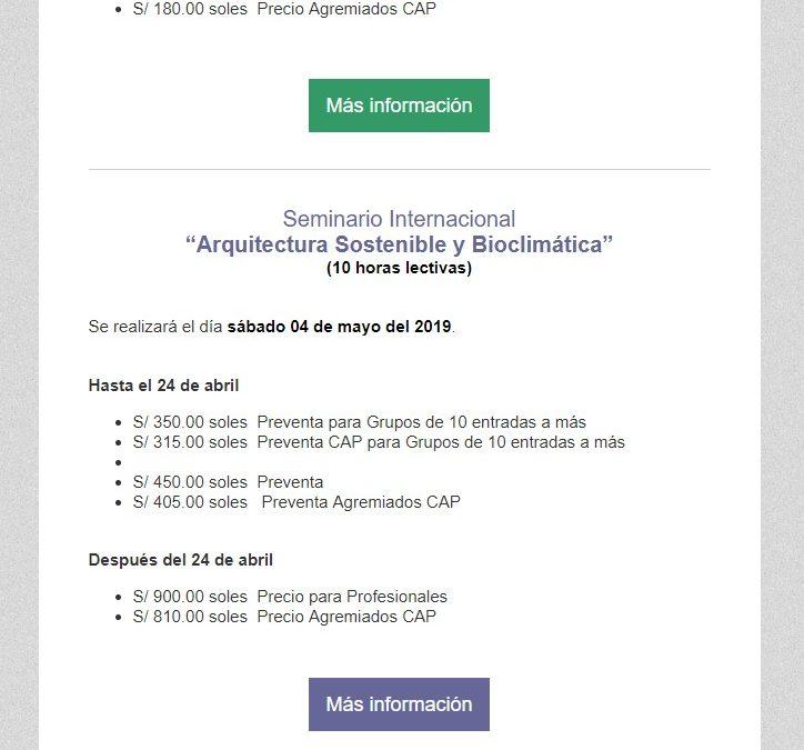 Obtén el 10% de descuento, Conferencia Magistral Diseño de Edificios Bioclimát  NotiCAPLima 043-2019