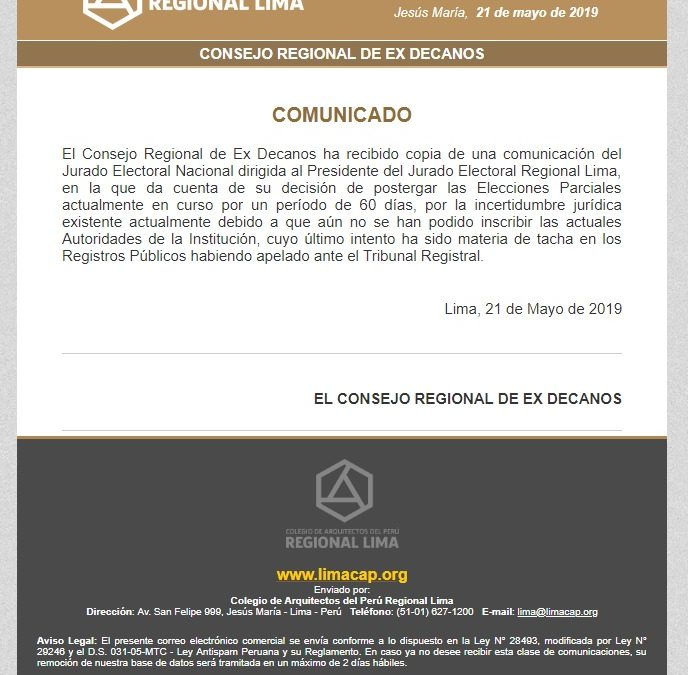 COMUNICADO  NotiCAPLima 051-2019