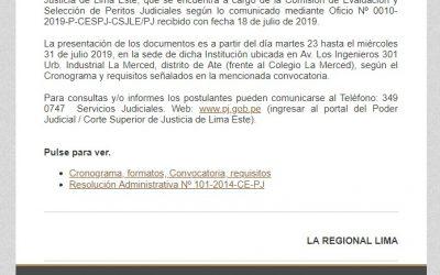 CONVOCATORIA PARA POSTULAR A PERITO JUDICIAL LIMA ESTE 2019-2020   NotiCAPLima 078-2019