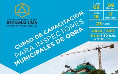 CURSO DE CAPACITACIÓN PARA INSPECTORES MUNICIPALES DE OBRA