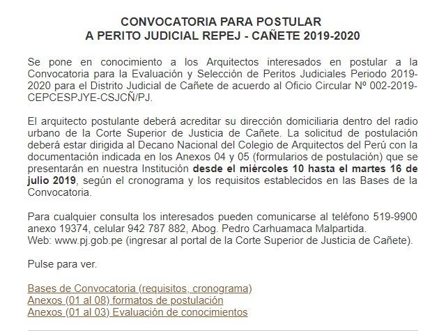 CONVOCATORIA PARA POSTULAR A PERITO JUDICIAL REPEJ – CAÑETE 2019-2020