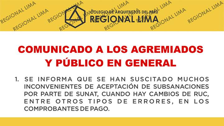 COMUNICADO A LOS AGREMIADOS Y PÚBLICO EN GENERAL  NotiCAPLima 077-2019