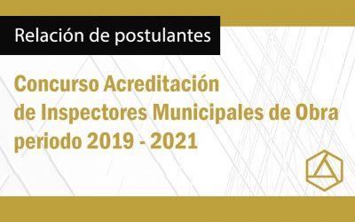 RELACIÓN DE POSTULANTES A INSPECTORES MUNICIPALES DE OBRA 2019-2021     NotiCAPLima 087-2019