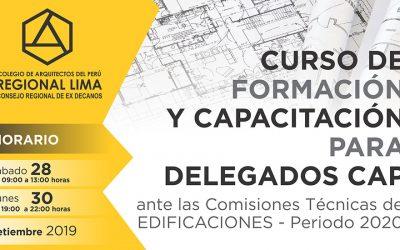 CURSO DE FORMACIÓN Y CAPACITACIÓN PARA DELEGADOS CAP | 28 Y 30 SETIEMBRE 2019