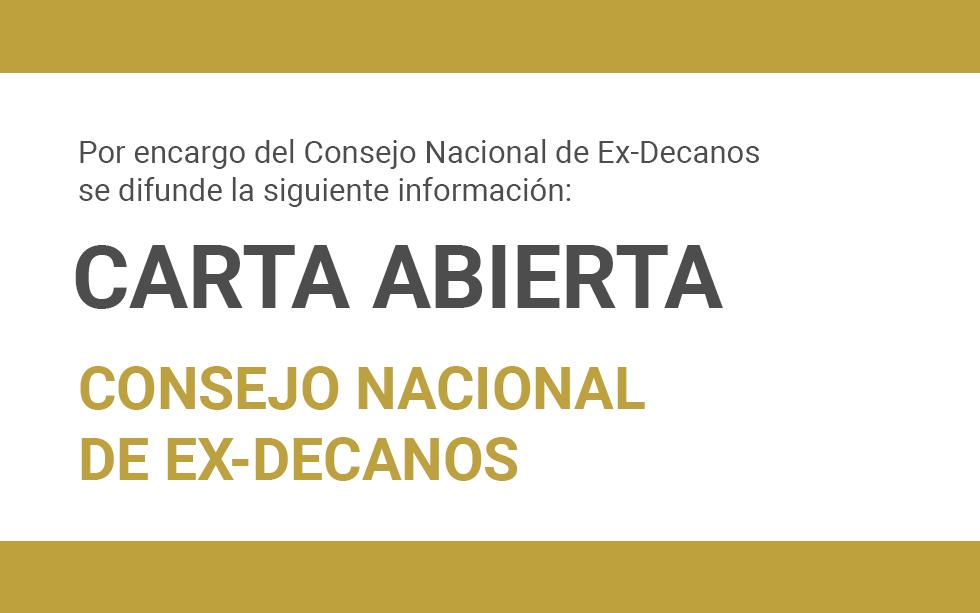 CARTA ABIERTA DEL CONSEJO NACIONAL DE EX-DECANOS | NotiCAPLima 141- 2019