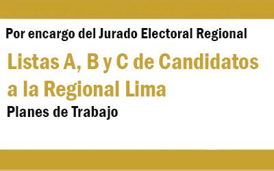 LISTAS DE CANDIDATOS A LA REGIONAL LIMA  | NotiCAPLima 150, 151 y 152-2019