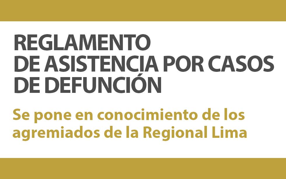 REGLAMENTO DE ASISTENCIA POR CASOS DE DEFUNCIÓN   | NotiCAPLima 173 -2019