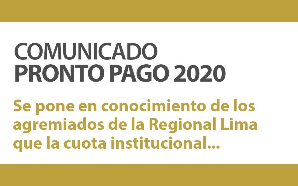 COMUNICADO PRONTO PAGO 2020 | NotiCAPLima 001 -2020