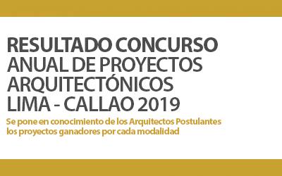 PUBLICACIÓN DE RESULTADO CONCURSO DE PROYECTOS ARQUITECTÓNICOS PARA LIMA – CALLAO 2019 | NotiCAPLima 012-2020