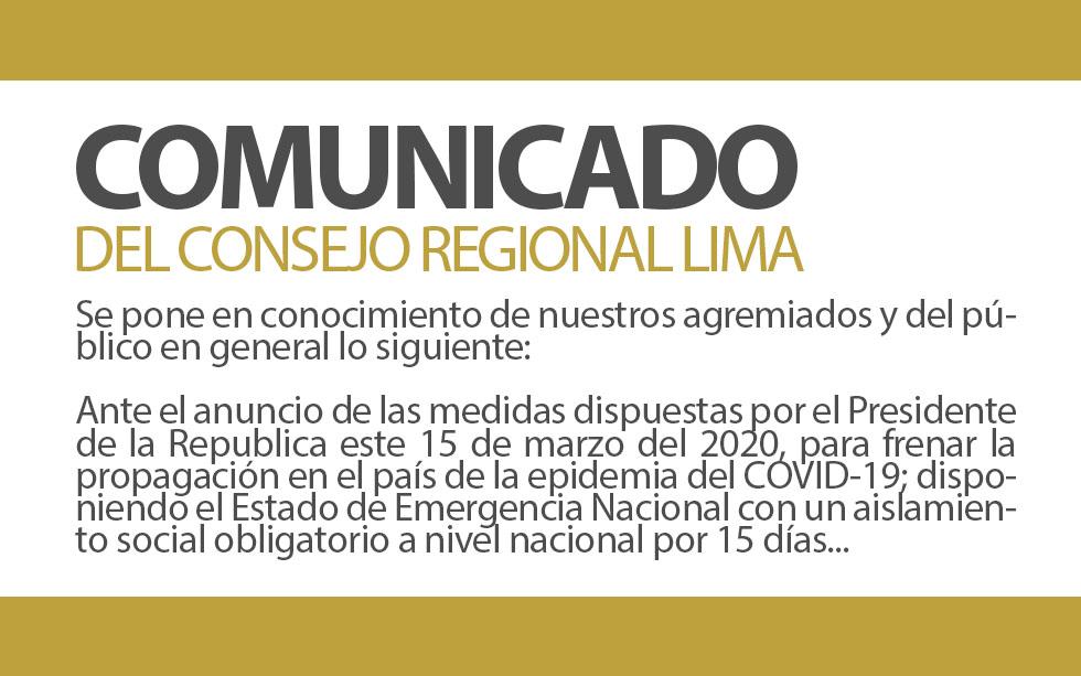 COMUNICADO DEL CONSEJO REGIONAL LIMA | NotiCAPLima 037 -2020