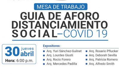 """Mesa de Trabajo """"Guía de Aforo Distanciamiento Social"""" – COVID 19"""