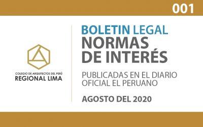 Normas de Interés publicadas en el Diario Oficial El Peruano – Agosto 2020 | BOLETIN LEGAL CAPLima 001