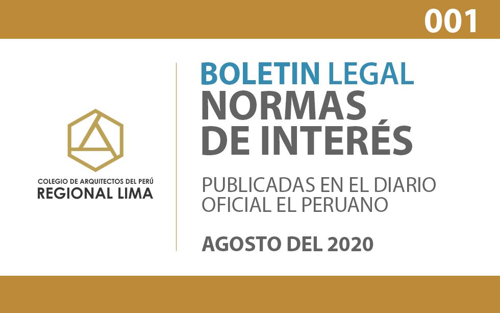 Normas de Interés publicadas en el Diario Oficial El Peruano – Agosto 2020   BOLETIN LEGAL CAPLima 001