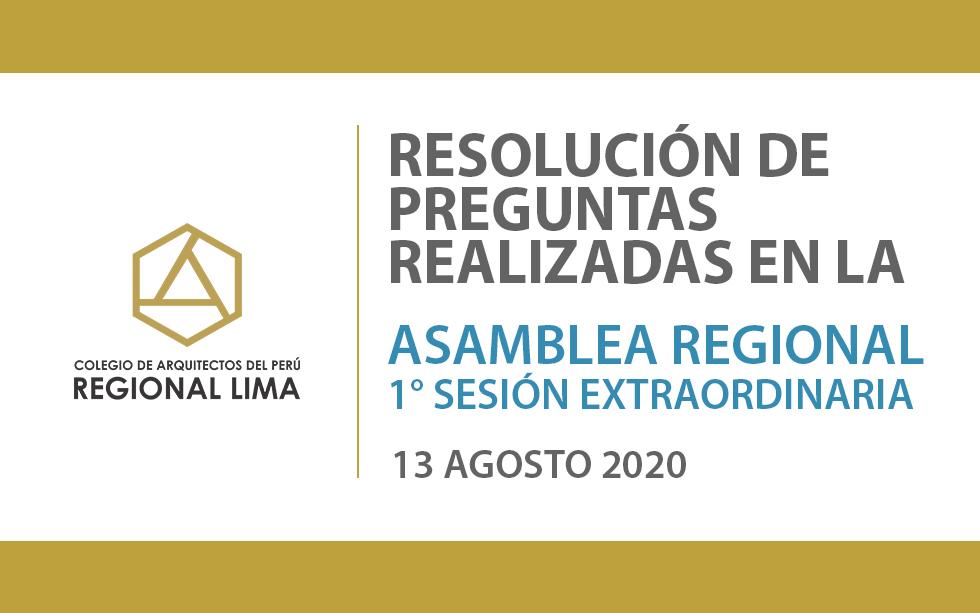 Resolución de preguntas realizadas en la Asamblea Regional 1° Sesión Extraordinaria