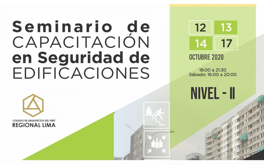 Seminario de Capacitación en Seguridad de Edificaciones Nivel – II   NotiCAPLima 192-2020