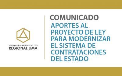 Aportes al Proyecto de Ley para modernizar el Sistema de Contrataciones del Estado | NotiCAPLima 198-2020
