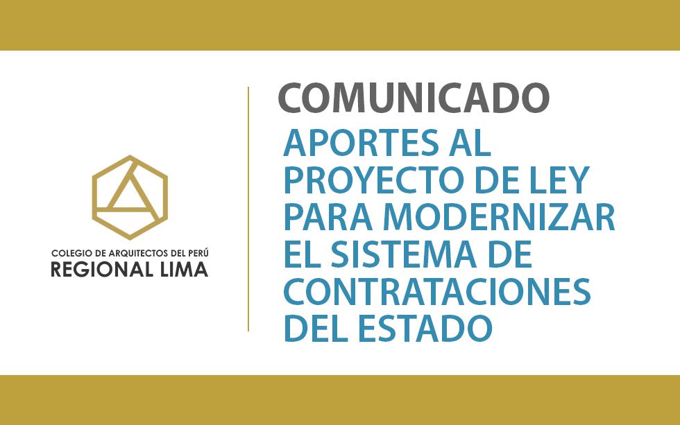 Aportes al Proyecto de Ley para modernizar el Sistema de Contrataciones del Estado   NotiCAPLima 198-2020