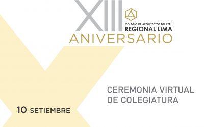Ceremonia Virtual de Incorporación de Nuevos Colegiados | 10 Setiembre 2020