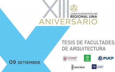 XIII Aniversario CAP Regional Lima | Tesis de Facultades de Arquitectura | 09 Setiembre 2020