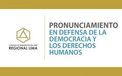 Pronunciamiento en Defensa de la Democracia y los Derechos Humanos | NotiCAPLima 226-2020
