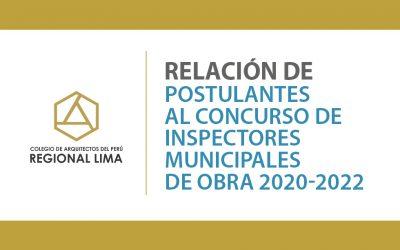 Relación de Postulantes al Concurso de Inspectores Municipales de Obra 2020-2022 | NotiCAPLima 222-2020