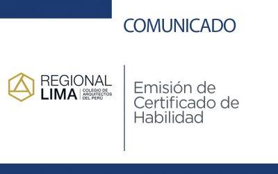 Comunicado: Emisión de Certificado de Habilidad | NotiCAPLima 045-2020