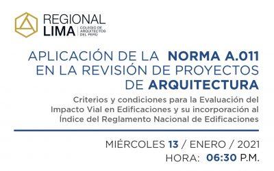Aplicación de la Norma A 011 en la revisión de Proyectos de Arquitectura | 13 Enero