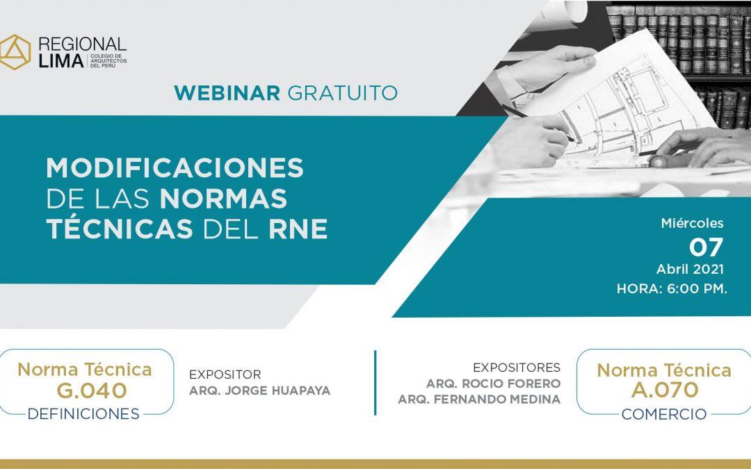 Webinar gratuito: Modificaciones de las Normas Técnicas del RNE | NotiCAPLima 085-2021