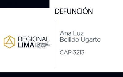Defunción:  Arq. Ana Luz Bellido Ugarte CAP 3213