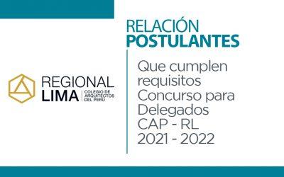 Relación de postulantes que cumplen requisitos Concurso de Delegados CAP – RL 2021 – 2022| NotiCAPLima 146-2021