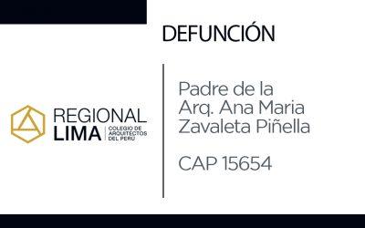 Defunción: Padre de la Arq. Ana María Zavaleta Piñella CAP 15654