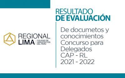 Resultados de Evaluación de Documentos y de Conocimientos Concurso de Delegados CAP-RL Julio 2021- Junio 2022